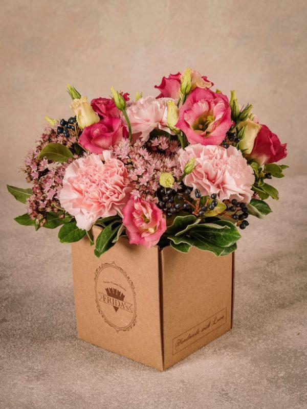 Box Romantico, fiori in box di cartone riciclato consegna a domicilio