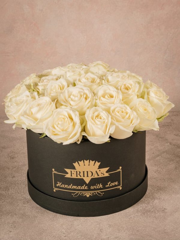 Large White Rose Hatbox, roses in a handmade box with heat-sealed brand logo Frida's