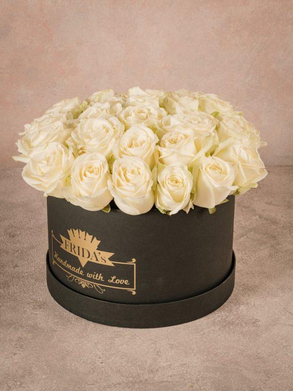 Large White Rose Hatbox, handmade box with heat-sealed brand logo.
