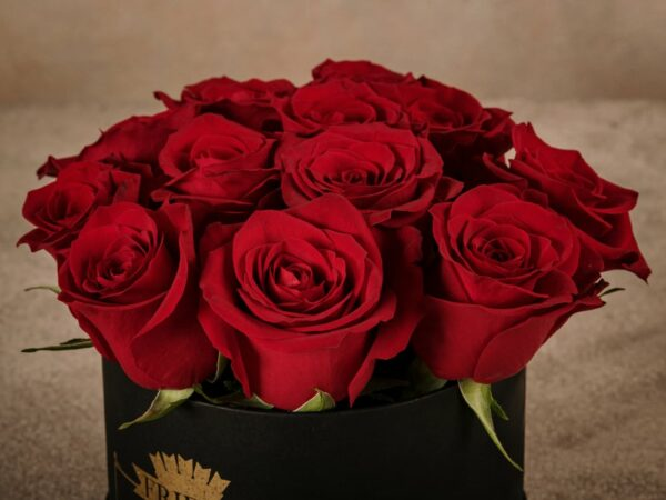 MediumRedRoseHatbox, high quality fresh roses home delivery