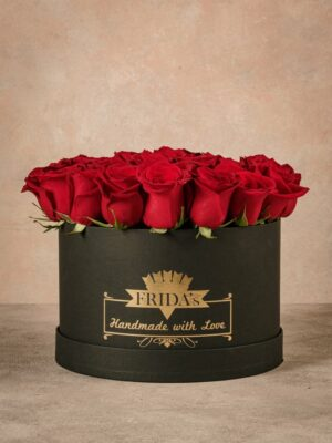 Large White Rose Hatbox, home delivery roses in a handmade box with heat-sealed brand logo