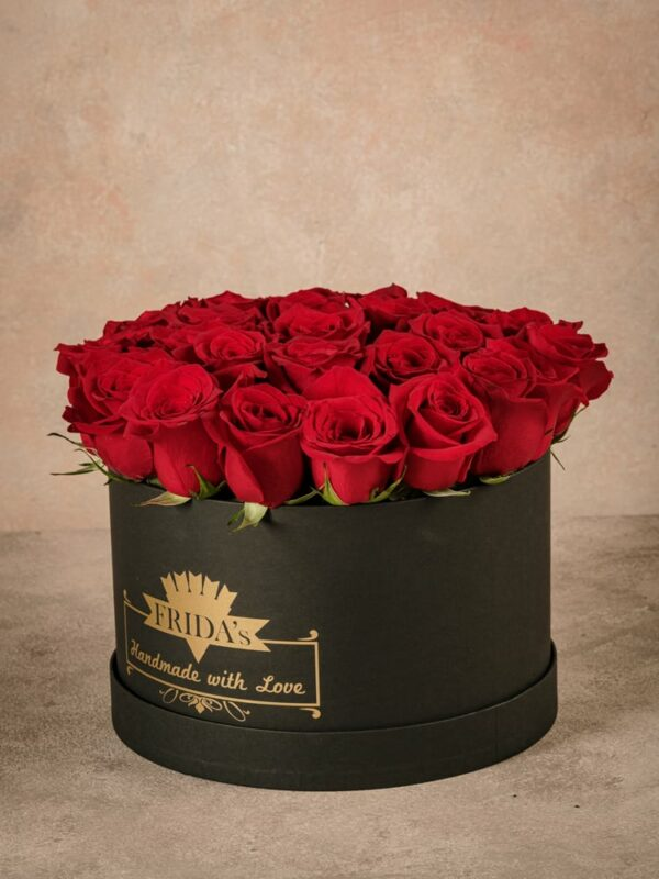 Cappelliera grande Rose Rossee, scatola fatta a mano con marchio Frida's