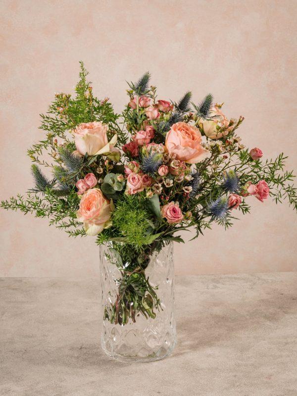Bouquet Luxury Rosa, rose e verdi di stagione