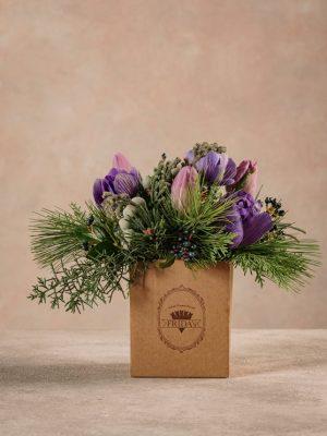 Box Light Purple, box in cartone 100% riciclato. Fiori freschi Frida's