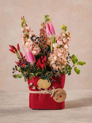 Flower Brick That's Amore, una piccola composizione floreale per comunicare il tuo amore