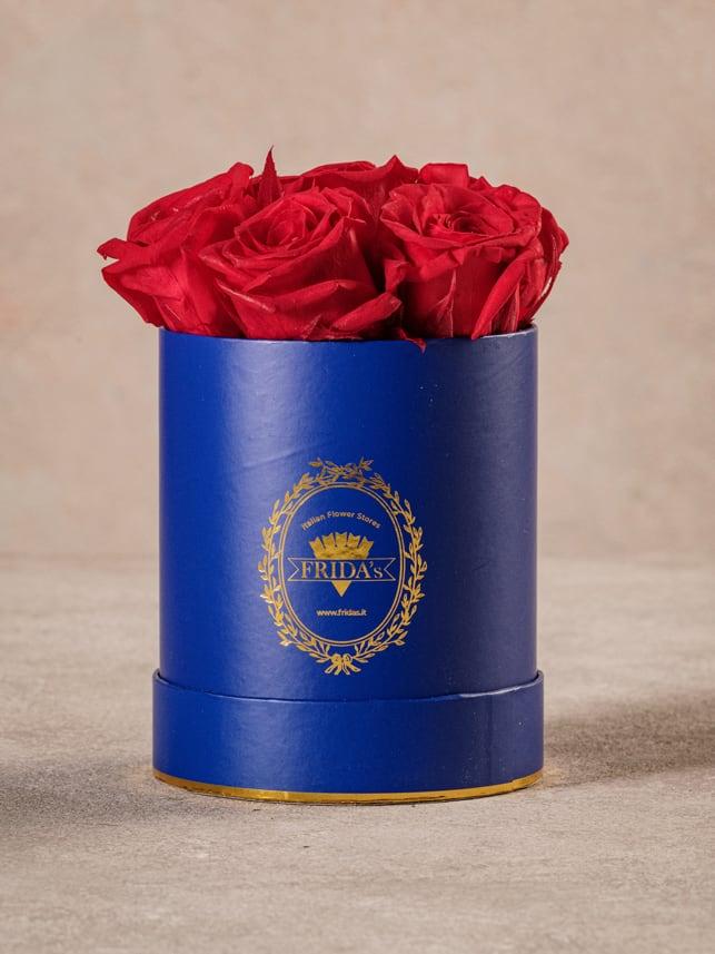 Cappelliera Mini Blu, Rose stabilizzate che durano nel tempo