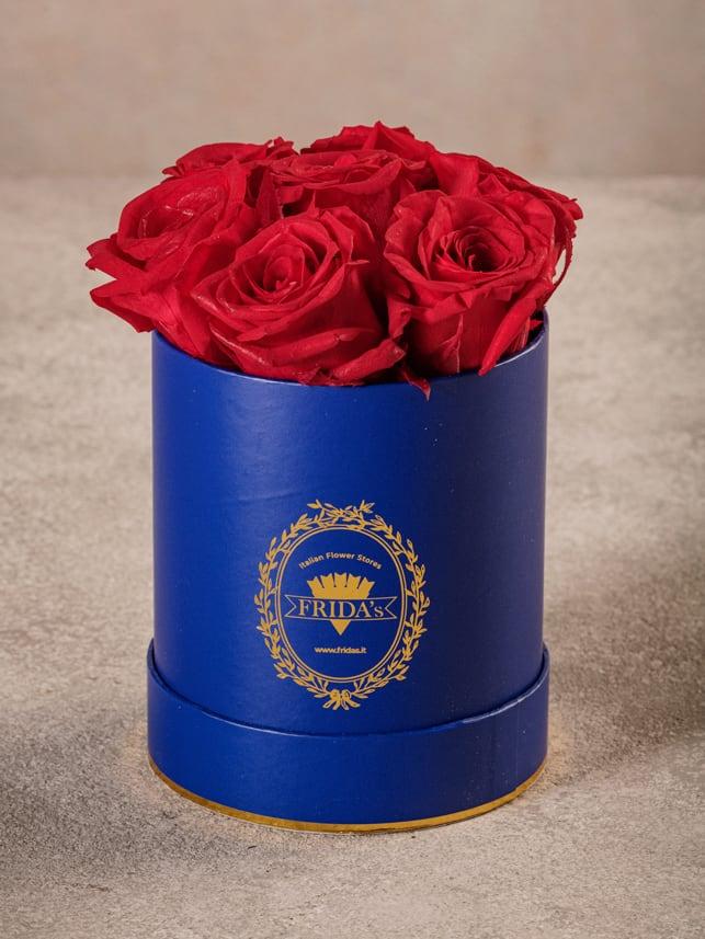 Cappelliera Mini Blu, Rose stabilizzate che durano nel tempo. Rose di alta qualità Frida's