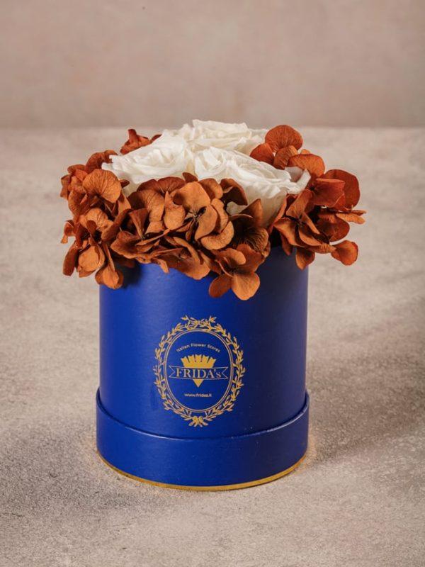 Cappelliera Mini Blu, Rose e ortensie stabilizzate che durano nel tempo. Fiori di alta qualità Frida's