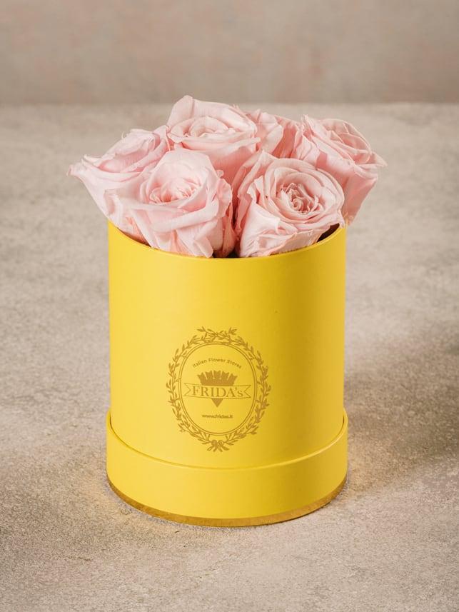 Cappelliera Mini Gialla, Rose stabilizzate che durano nel tempo