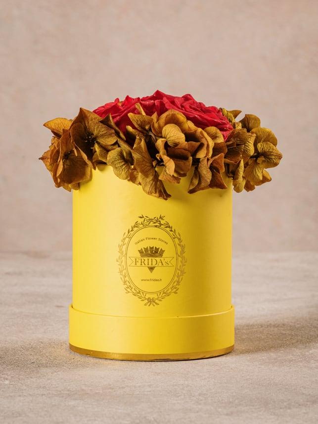 Cappelliera Mini Gialla, Rose e ortensie stabilizzate che durano nel tempo