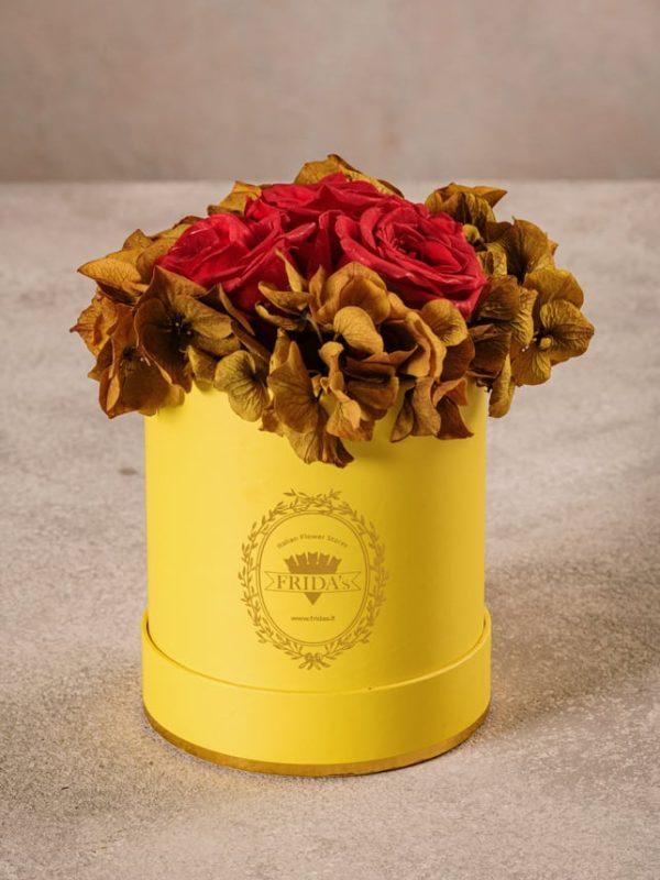 Cappelliera Mini Gialla, Rose e ortensie stabilizzate che durano nel tempo. Fiori di alta qualità Frida's
