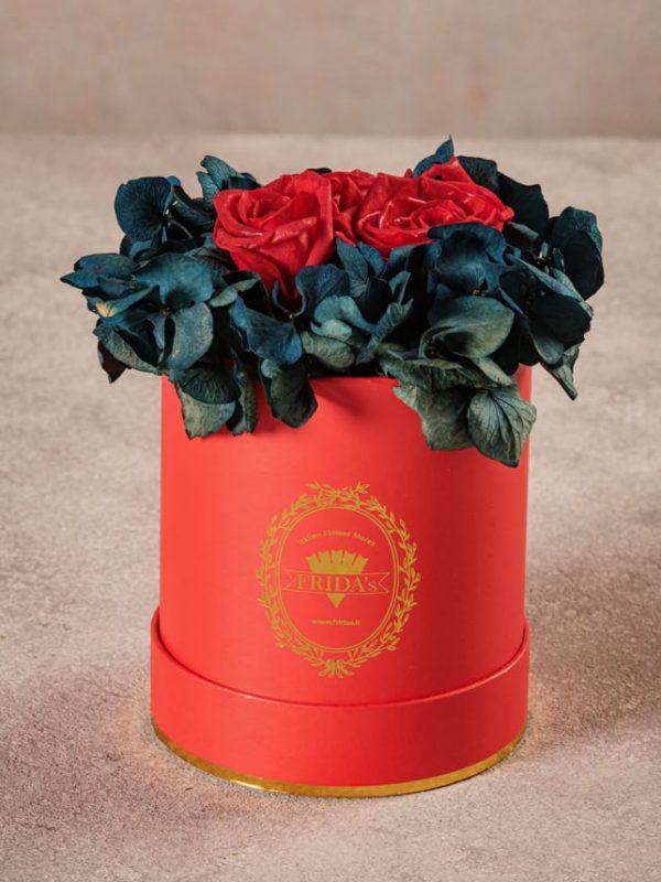 Cappelliera Mini Rossa, Rose e ortensie stabilizzate che durano nel tempo. Fiori di alta qualità Frida's