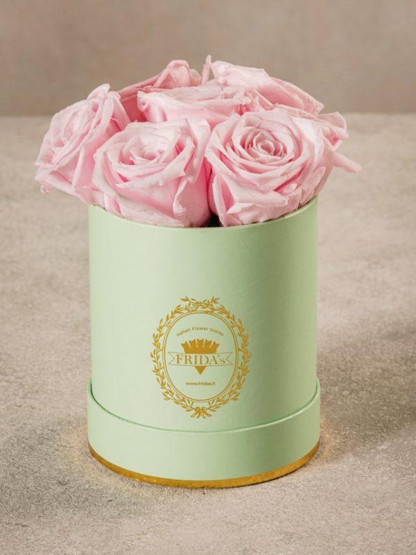 Cappelliera Mini Verde, Rose stabilizzate che durano nel tempo. Rose di alta qualità Frida's