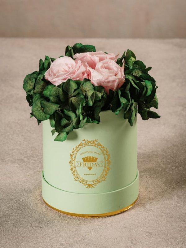 Cappelliera Mini Verde, Rose e ortensie stabilizzate che durano nel tempo