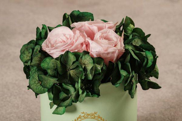Cappelliera Mini Verde, Rose e ortensie stabilizzate che durano nel tempo. Fiori di alta qualità Frida's
