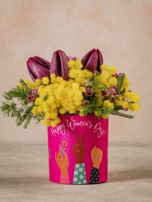 Sushi Malala bouquet di tulipani, wax e mimosa per una donna speciale