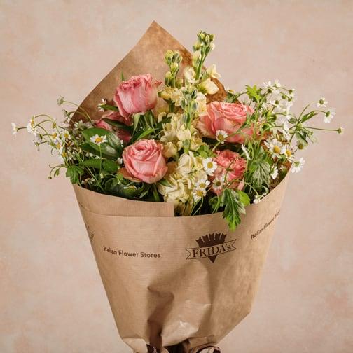 Bouquet Creamy, rose rosa e violacioacca