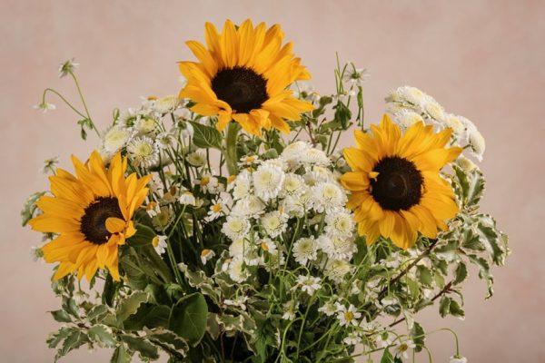 Bouquet Sunny, girasoli, crisantemi e camomilla con verde di stagione
