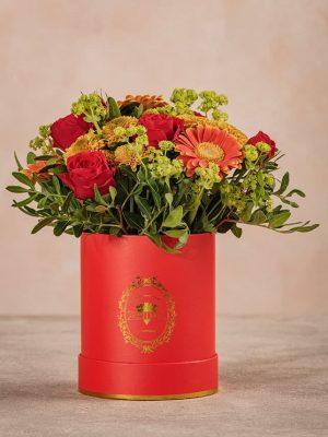 Cappelliera Mini Rossa Frida's, fiori e mix di verde