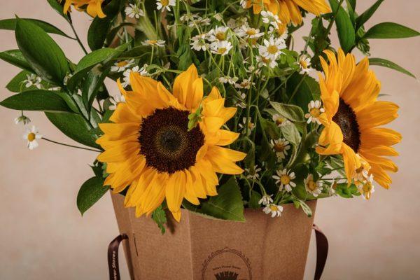 Flower Basket Girasoli fiori freschi online