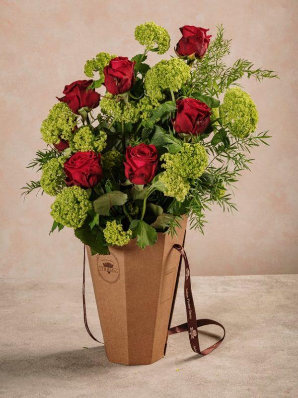 Flower Basket Roses&Lime fiori freschi online consegna a domicilio in tutta Italia