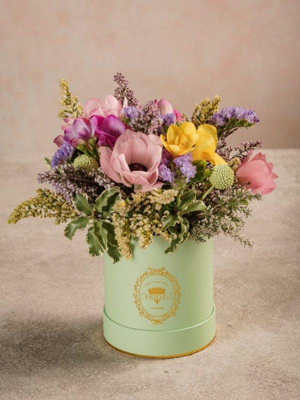 Mini Cappelliera Verde, fiori freschi online consegna a domicilio in tutta Italia