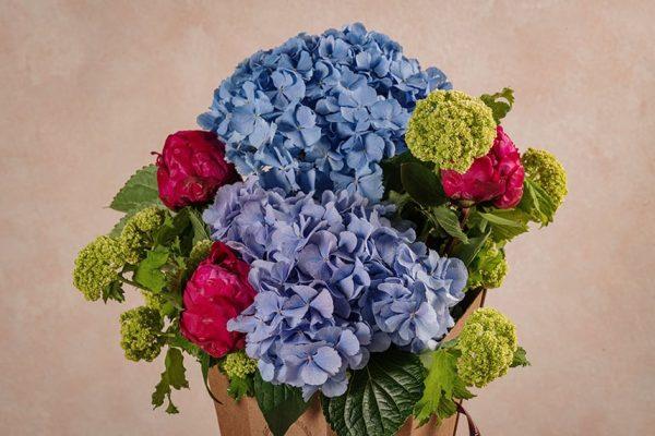 Flower Basket Peonie Ortensie - Peonie colorate, ortensie e viburno - Festa della mamma Frida's