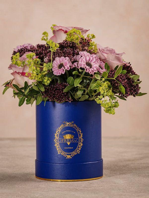 Cappelliera Mini Blu Frida's mix di fiori e verde di stagione