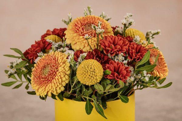 Cappelliera Mini Gialla Frida's mix di fiori e verde di stagione