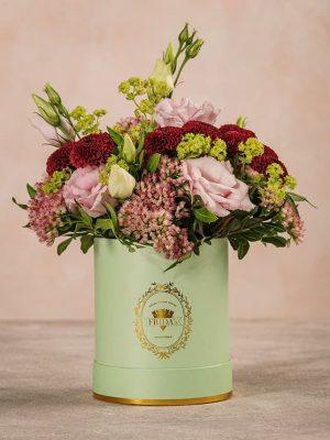 Cappelliera Mini Verde Acqua Frida's mix di fiori e verde di stagione